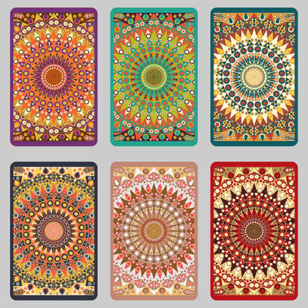 Collection retro cards. Ethnic backgrounds. Card of invitation. Vintage design elements Vector