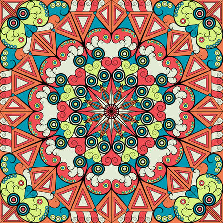 Colorful ethnic patterned background. Arabesque vector ornament Vector