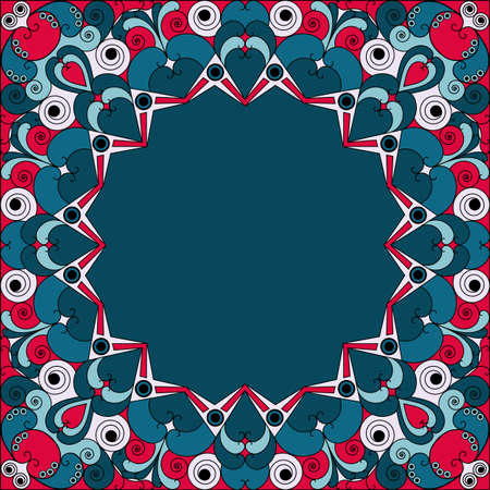 Colorful ethnic patterned frame. Vector ornamental background
