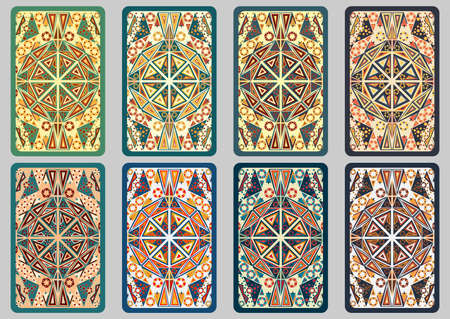 augury: Collection retro cards. Ethnic backgrounds. Card of invitation. Vintage design elements