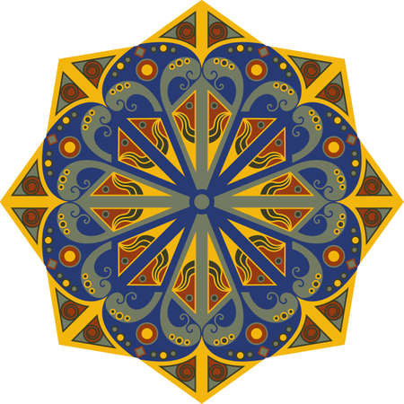 moorish: Colorful round ethnic pattern. Element for design