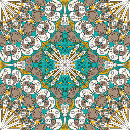 Colorful ethnic patterned background. Arabesque vector ornament Imagens - 41820618
