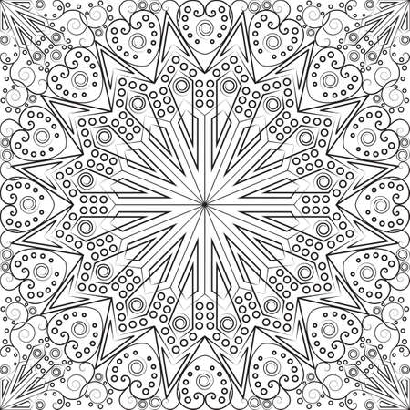 vintage symbol: Black and white ethnic patterned background. Arabesque ornament