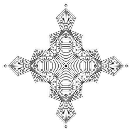 moorish: Black-white ethnic pattern. Element for design