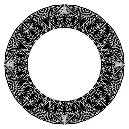 ornamental background: Black-white ethnic patterned frame. Vector ornamental background