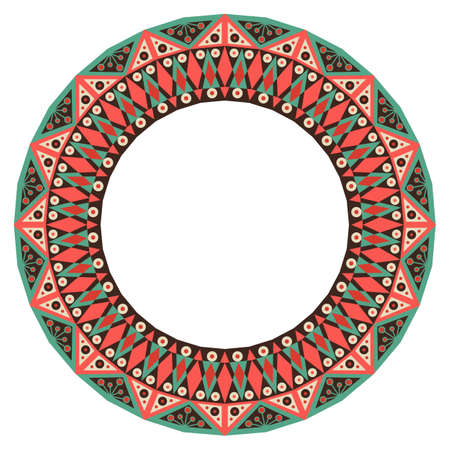 ornamental background: Colorful ethnic patterned frame. Vector ornamental background