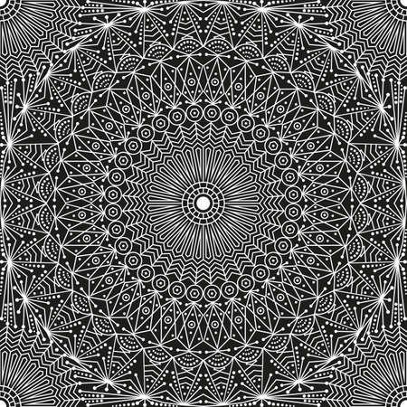 moorish: Black and white ethnic patterned background. Arabesque ornament