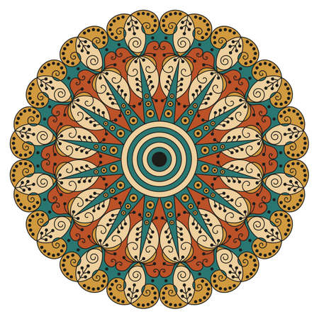 ornamentation: Colorful round ethnic pattern. Element for design