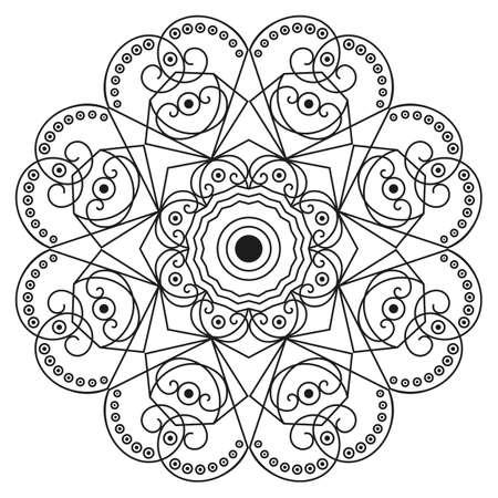 element for design: Black-white round ethnic pattern. Element for design Illustration