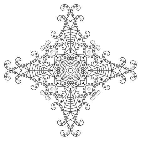 black star: Black-white ethnic pattern. Element for design