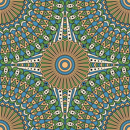 moorish: Colorful ethnic patterned background. Arabesque vector ornament