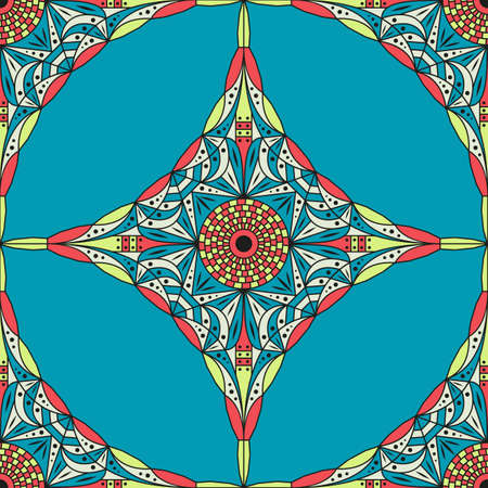 Colorful ethnic patterned background. Arabesque vector ornament