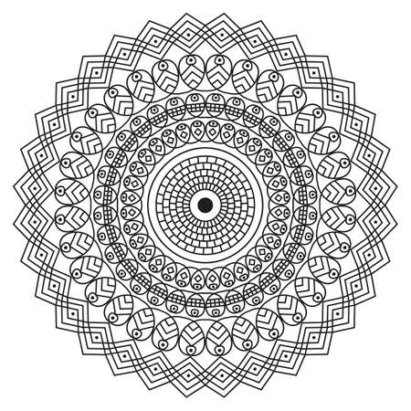 Black-white round ethnic pattern. Element for design Illustration