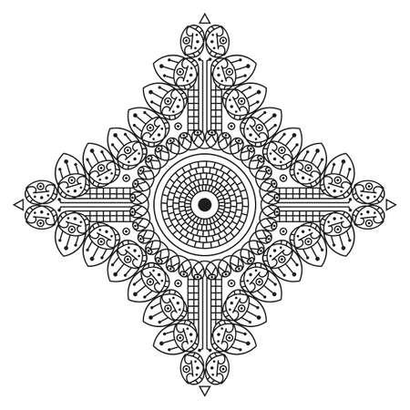 Black-white ethnic pattern. Element for design