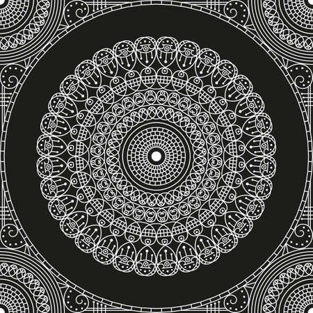 black and white: Black and white ethnic patterned background. Arabesque ornament