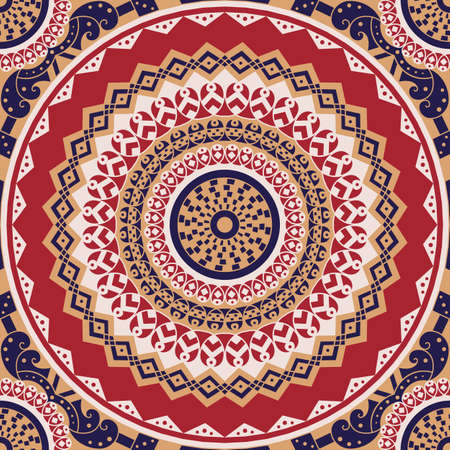 east indian: Colorful ethnic patterned background. Arabesque vector ornament