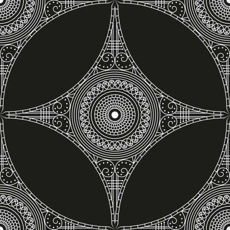 Black and white ethnic patterned background. Arabesque ornament