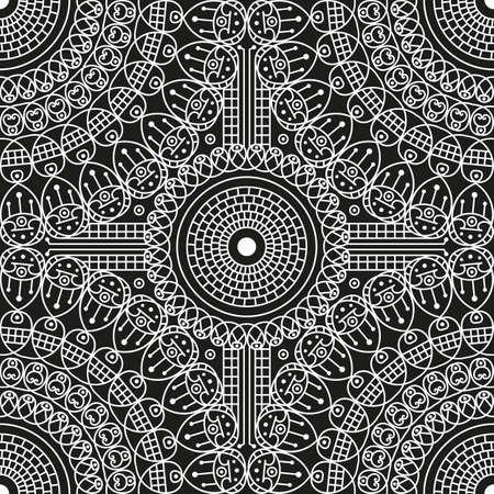 Fond noir et blanc à motifs ethniques. Ornement Arabesque Banque d'images - 76829994