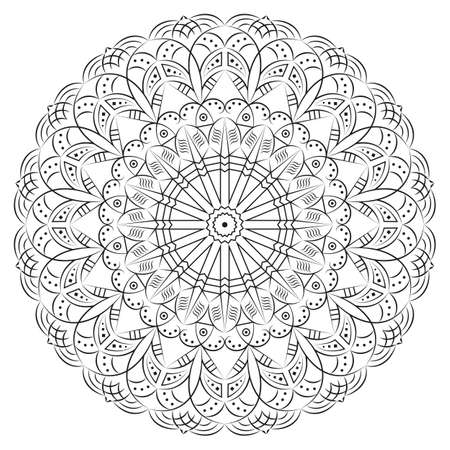 Black-white round ethnic pattern. Element for design Illustration