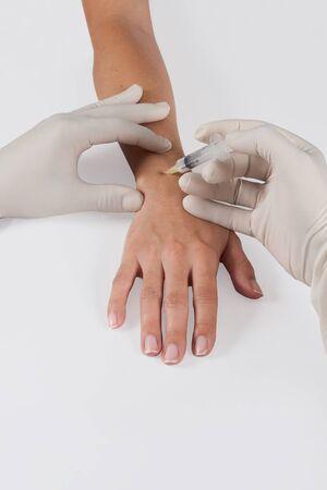 Hand intra articular injection Stock fotó