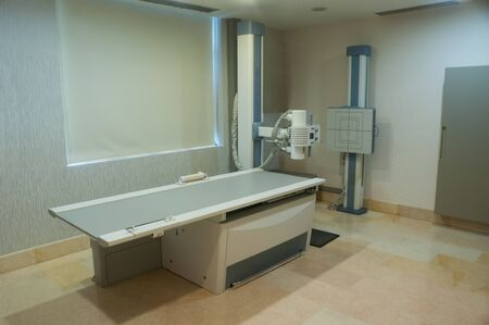 X-ray room, x-ray unit room, bed in the clinic