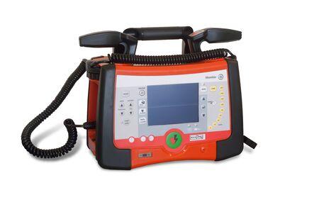 defibrillator machine, monitor isolated on white background Stock Photo