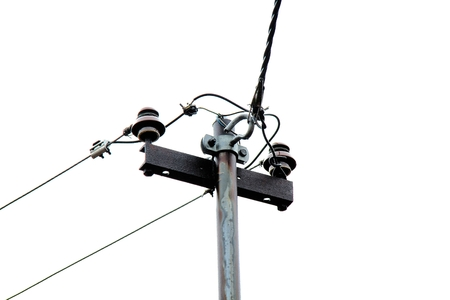 isolator insulator: Electricity substation in the rain
