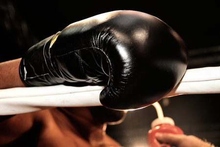 Boxing gloves during a professional boxing match Stock Photo