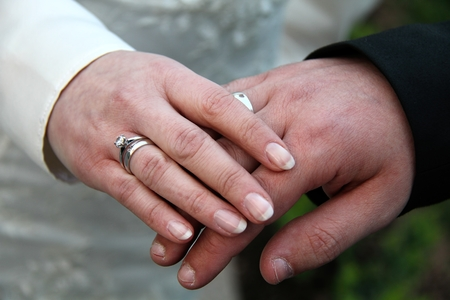 bridal couple: Hands of bridal couple with wedding rings