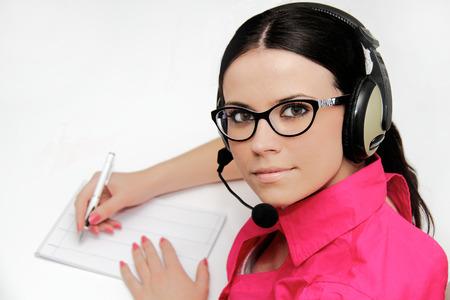 Female customer service representative with headset photo