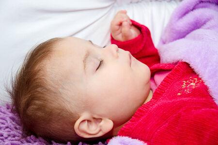 0 6 months: Cute baby girl sleeping
