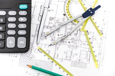 ruler: Photo of the Architectural project, pair of compasses, rulers and calculator