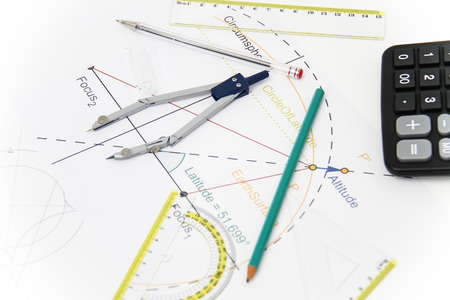 Photo of the Business Architectural project, pair of compasses, glasses, rulers and calculator - business concept photo
