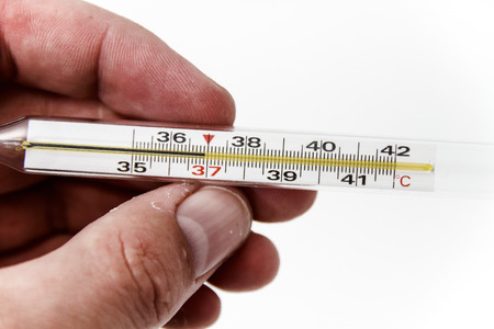 cutouts: Photo of the Thermometer for body temperature on the white background, for people health