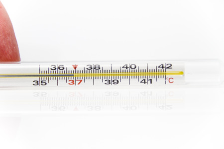 body temperature: Photo of the Thermometer for body temperature on the white background, for people health