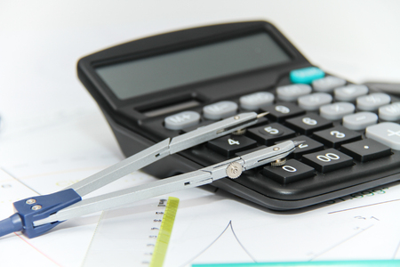 ruler: photo of the Architectural plans and projets, pencils, rulers, compass, calculator, tablet, glasses and other tools