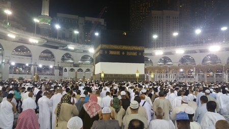 doa: MECCA, SAUDI ARABIA, September 2016 - Muslim pilgrims from all over the world gathered to perform Umrah or Hajj at the Haram Mosque in Mecca, Saudi Arabia, days of Hajj