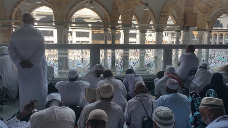 holiest: MECCA, SAUDI ARABIA, September 2016 - Muslim pilgrims from all over the world gathered to perform Umrah or Hajj at the Haram Mosque in Mecca, Saudi Arabia, days of Hajj