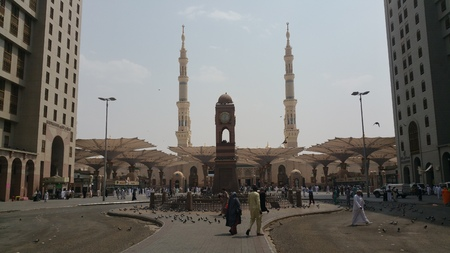 Photo of the Al Madinah, Saudi arabia, September 2016 masjid (mosque) nabawi and pilgrims from all the world at Prophet Mosque or Masjid Nabawi