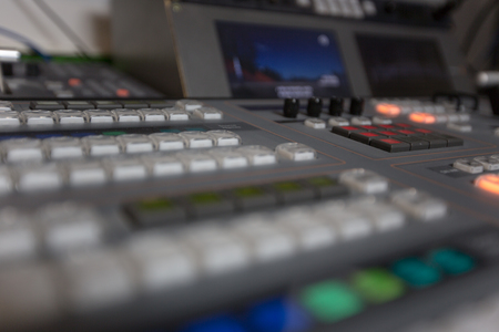 Broadcast studio video and audio switcher mixer Imagens