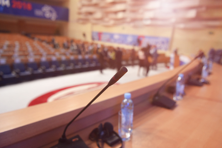 Microphones in conference room or hall, prepairing for business conference