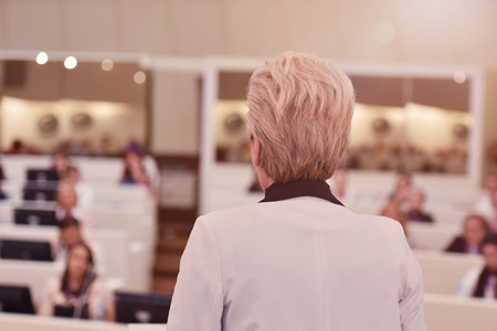 Leader business woman representing model of economic development and startup business, Audience at the conference hall, Business Conference and Presentation Stock Photo