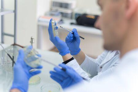 Un groupe de scientifiques effectue des recherches dans un laboratoire scientifique utilisant une technologie de pointe. COVID-19 [FEMININE. COVIDCoronavirus