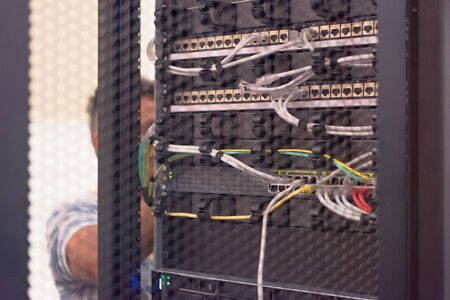 Rack Mounted Servers In A Server Room, close up Banque d'images