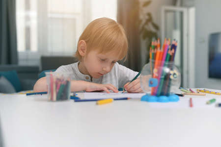 Distance learning online education. A schoolboy boy studies at home and does school homework. A home distance learning during pandemic situation of coronavirus Standard-Bild