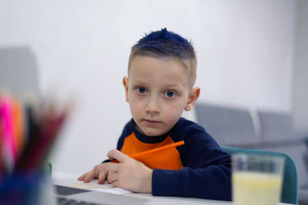 Distance learning and online education. Schoolboy boy studies at home and does school homework. Remote learning during  pandemic Standard-Bild