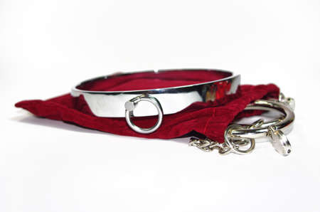 heel strap: Very sexy and kinky steel collar with handcuff
