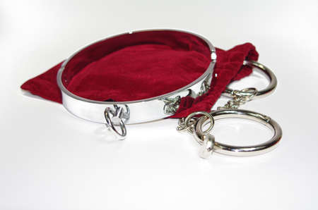 Very sexy and kinky steel collar with handcuff photo