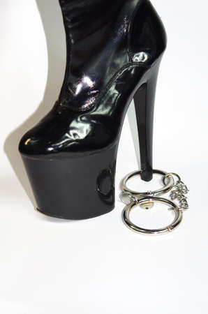Black pvc boot with legcuff photo