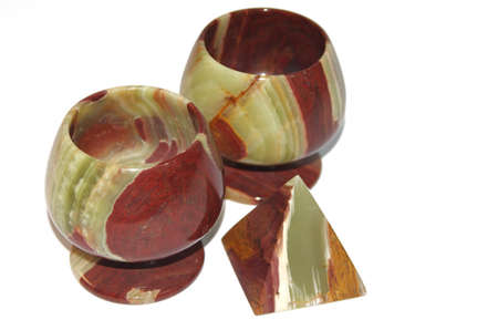 Onyx or marble stone chalice or Goblet Isolated Object Stock Photo